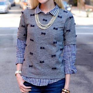J Crew Mini Bows Sweater Top Sz M